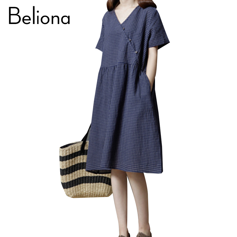 2017 Summer Cotton Linen Maternity Dress for Pregnant Women Fashion Pregnancy Clothes Loose Plaid V-neck Pregnancy Clothing