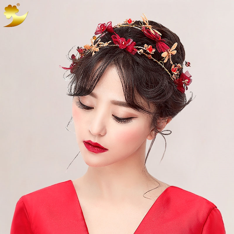XinYun Gold Plated Hairband Crystal Crown Lace Material Girl Hair band Flower Headpiece Korean Hair Accessories