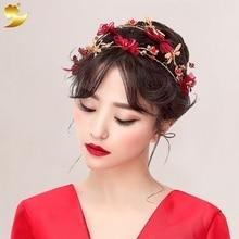 XinYun Plaqué Or Bandeau Cristal Couronne Matériel De Lacet Fille bande De Cheveux Fleur Casque Coréenne Cheveux Accessoires bandeaux 89333
