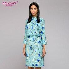 S. SABOR Mulheres Camisa estilo vestido curto Mandarim colarinho manga três quartos de impressão vestido das mulheres lápis primavera outono vestidos