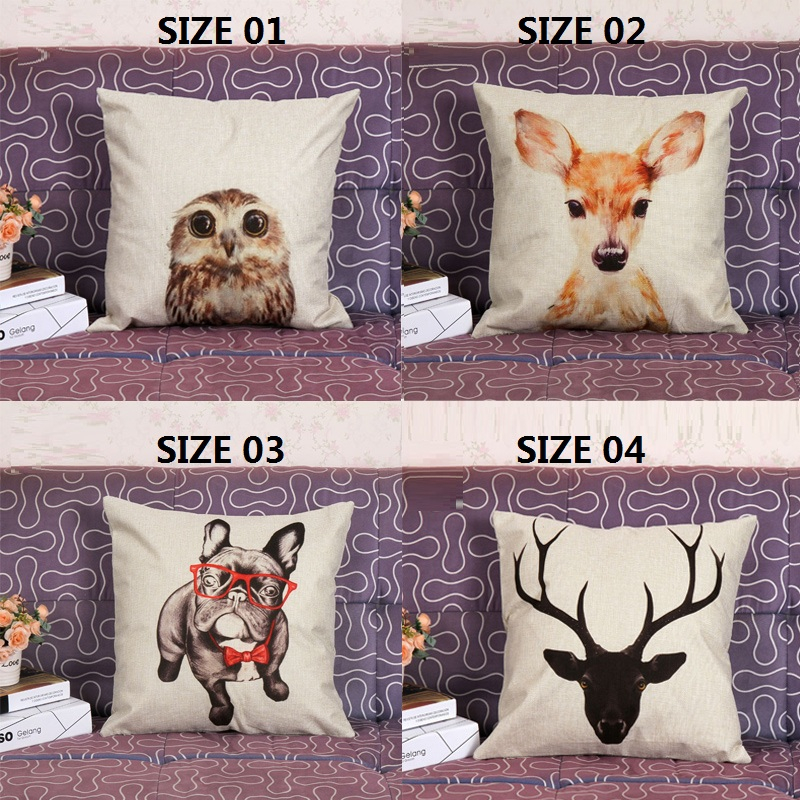 Animal pillow synthesis of flax car printed pillowcase sofa cushion for leaning on selling without filling can unpick and wash