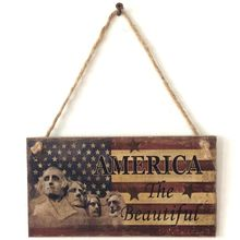 Vintage Wooden Hanging Plaque America The Beautiful Sign Board Wall Door Home Decoration Independence Day Party Gift