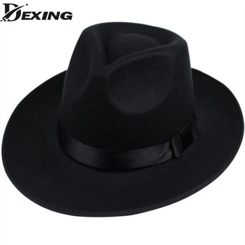 Dexing  Mode superstar large bord sombreros melon hoeden hommes vintage  noir chapeu chapeau feutre de laine femmes feutrés dans fedoras de  Vêtements ... 7f19612c6457