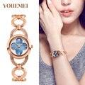 YOHEMEI Nova Marca Mulheres Relógio Relogio feminino Senhoras da Banda de Luxo Moda Rhinestone Pulseira Relógios do Desenhador das Mulheres Hodinky