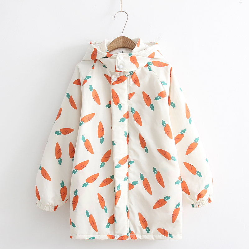 2018 winter new vintage Japanese cute print carrot female   parkas   top coat loose warm thick hooded cotton kawaii oversized jacket