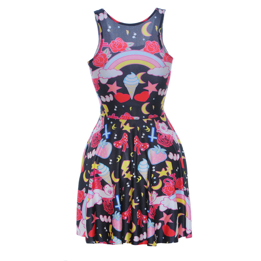 6bef82a28f4 NEW 1027 Sexy Girl Women Summer ice cream Rainbow Unicorn Pony 3D Prints  Reversible Sleeveless Skater Pleated Dress-in Dresses from Women s Clothing  on ...