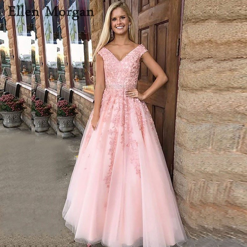 Pink V Neck Long   Prom     Dresses   for Women 2019 Lace Off Shoulder Floor Length Appliques Tulle Vestido De Festa Party Gowns