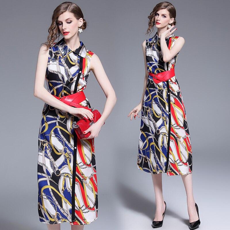 Длинное приталенное платье с принтом и поясом