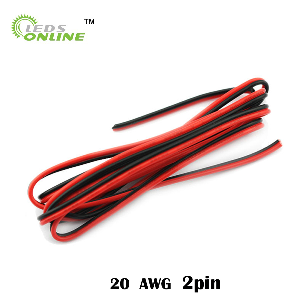 AWG 22 wire,20m/lot 2pin LED Flexible Strip Light Extension Cable ...