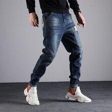 ผู้ชายกางเกงยีนส์เอวผู้ชายยืดหยุ่นสบายๆยืดตรงPLUSขนาด 44 46 48 หลวมBaggyกางเกงยีนส์ชายDENIMกางเกง 8XL 7XL 5XL 6XL