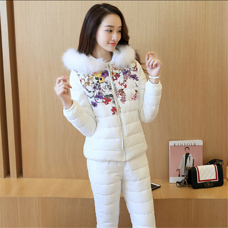 Winter Coat 2017 Women Autumn Winter Jackets Women Floral Print Patchwork Slim Warm Set Cotton Coat Sets