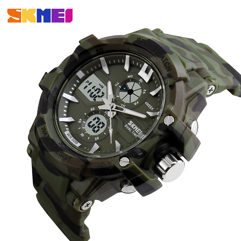 SKMEI Sport Watch Men Digital Watches Mens Waterproof Military Dual Display Wristwatches Top Brand Luxury Relogio Masculino 0990