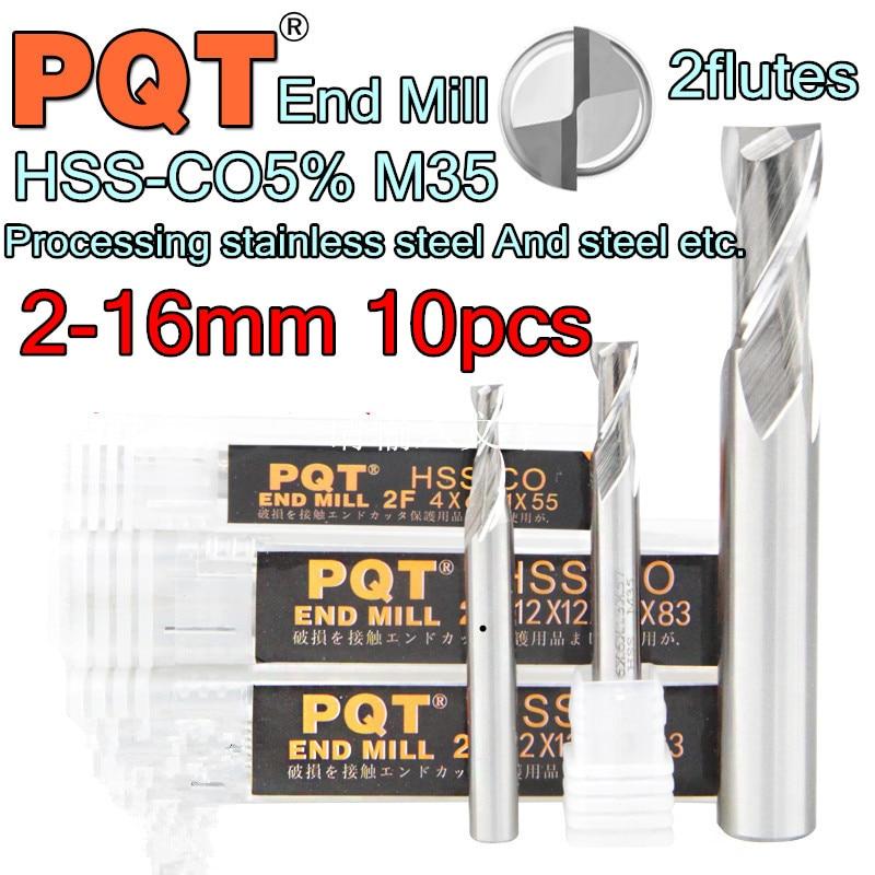 2 3 4 5 6 8 10 12 14 16 10pcs set 2 flutes Japan PQT