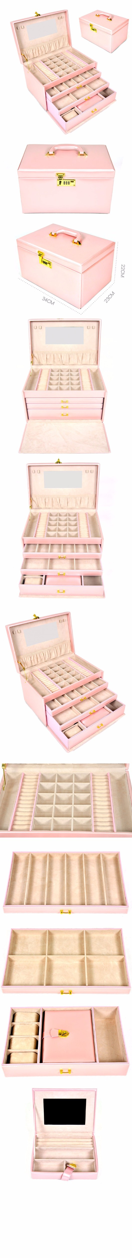 gift box smooth pink leather jewelry box