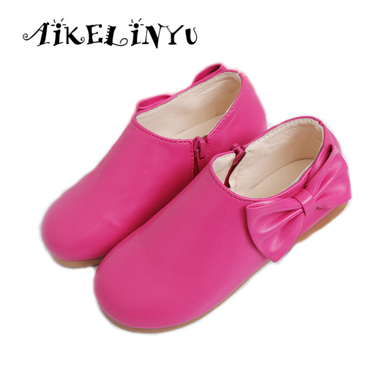 AIKELINYU kids Shoes 2017 Girls Casual Leather Shoes School Shoes For Girls Bow Baby Fashion Princess Shoes Side Zipper Children