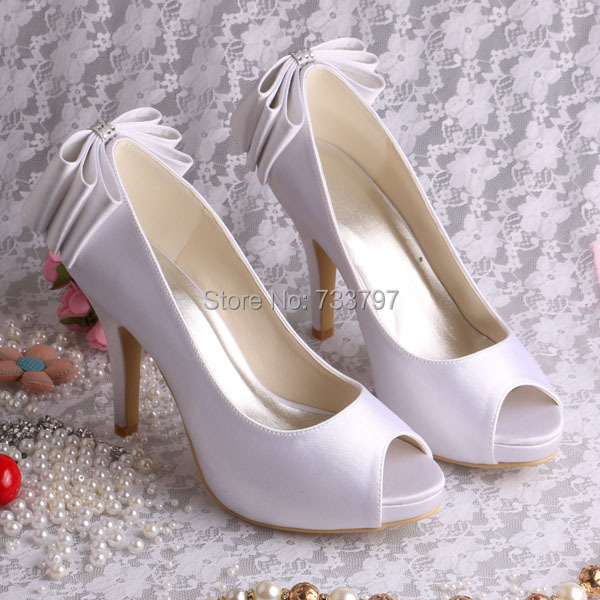 ФОТО Wedopus Luxury White Heels for Women Platform Peep Toe Back Bow Wedding Shoes Custom