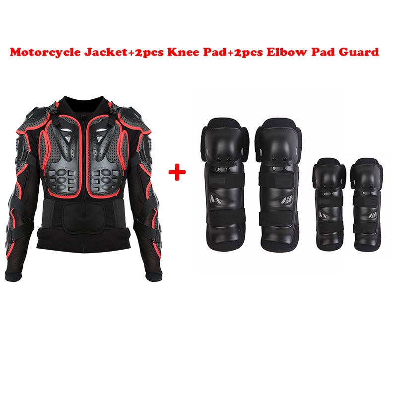 Black/Red Motorcycle Racing Motocross Full Body Armor Spine Chest Protective Jacket Gear Protector+Knee Pad+Elbow Pad Protector защита для мотоциклиста racing motocross knee protector pads guards protective gear