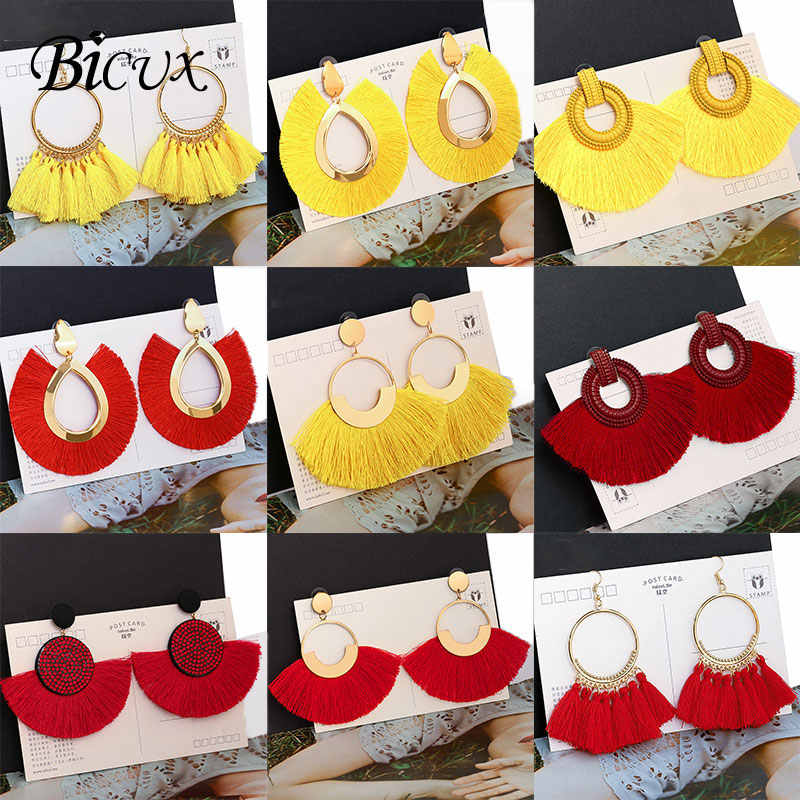 BICUX Fashion Bohemian Statement Big Tassel Earrings 2019 Red Yellow Green Silk Fabric Drop Dangle Earrings for Women Jewelry