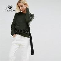 Eileen Elisa Womens Designer Sweaters Belt 2017 Winter Casual Loose Sweater Pullover Knitwear