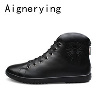 Men Dress shoes Big Size Fashion Men Boots Pointed Toe Genuine Leather Hording Riding Boots Winter Men Sneaker Shoes With Fur