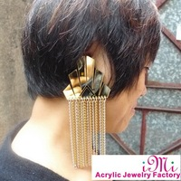Cockscomb With Tassels Chain Supper Premiun Mirror Acrylic Punk Earrings