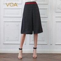 VOA черный шелк укороченные брюки женские брюки с широкими штанинами Готический Высокая талия Свободные Pantskirts Harajuku повседневное Дамы низ па