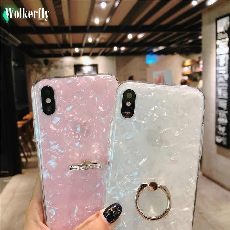 1bac57b8d4 360 Rotating Ring Holder Glitter Bling Phone Case For iPhone 7 Plus X XS XR  Conch
