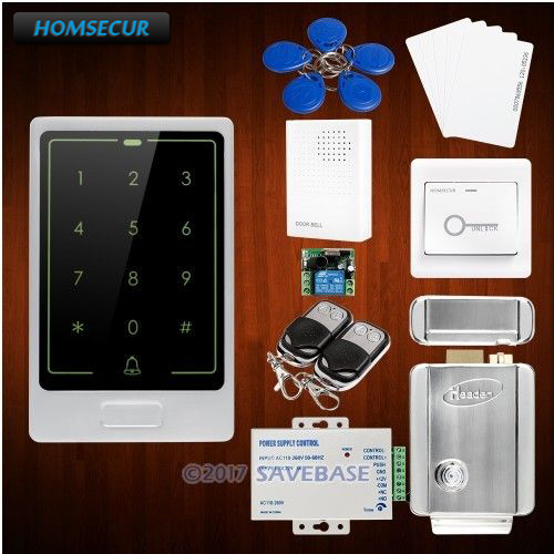 HOMSECUR Silver DIY Waterproof Touch Keypad ID RFID Access Control Kit + Electric Lock free shipping touch keypad access control rfid card and touch keypad access control