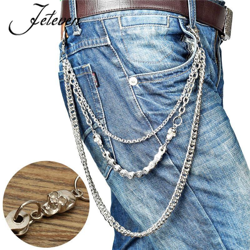New Men 2 Short Strands Silver Metal Wallet Chain KeyChain Biker Jean Trucker