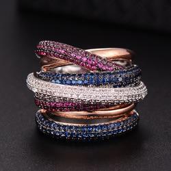 GODKI известная марка класса люкс крест Геометрия Cubic Zironium Обручение Дубай унисекс кольца Свадебные палец кольцо ювелирные изделия