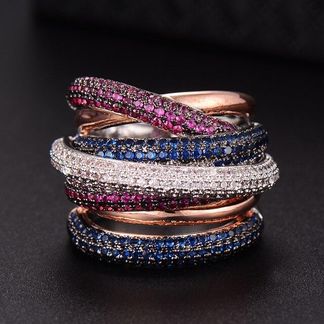 GODKI известный бренд Роскошные крест геометрические фианиты обручальные Дубай унисекс кольца свадебное пальто ювелирные изделия