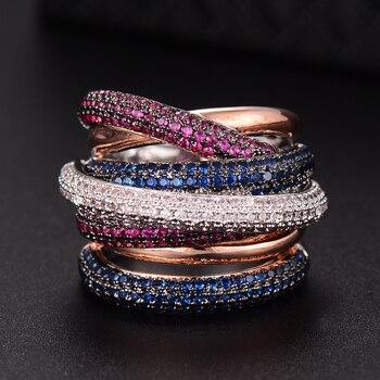 GODKI известный бренд класса люкс крест Геометрия фианит обручение Дубай унисекс кольца свадебное пальто ювелирные изделия