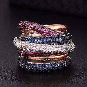 Image 1 - GODKI znane marki luksusowe krzyż geometria Cubic Zironium zaręczyny dubaj Unisex pierścionki biżuteria dla nowożeńców palec serdeczny