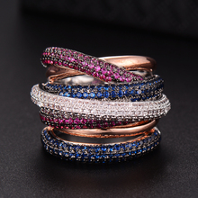 GODKI العلامة التجارية الشهيرة الفاخرة الصليب الهندسة مكعب زيرونيوم المشاركة دبي للجنسين خواتم الزفاف البنصر مجوهرات