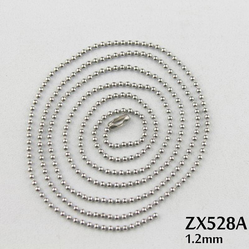 50 mètres-100 mètres 1.2mm chaîne à billes (100-200 pièces gratuit boucle de taille) collier en acier inoxydable perles chaînes bijoux de mode ZX528A