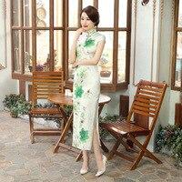 New Summer Novelty Ladies Silk Long Cheongsam Chinese Traditional Style Female Elegant Slim Qipao Dress S