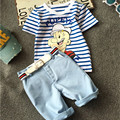 New Arrival Children Boys Clothes Set Cotton Cartoon Striped Top Jeans Pants Suit Kids 2Pcs Boy Clothing Set Toddler Clothing