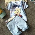 Nueva Llegada Muchachos de Los Niños Ropa de Algodón de Dibujos Animados Top de Rayas Traje De Pantalones Vaqueros Niños 2 Unids Ropa Boy Set Niño ropa