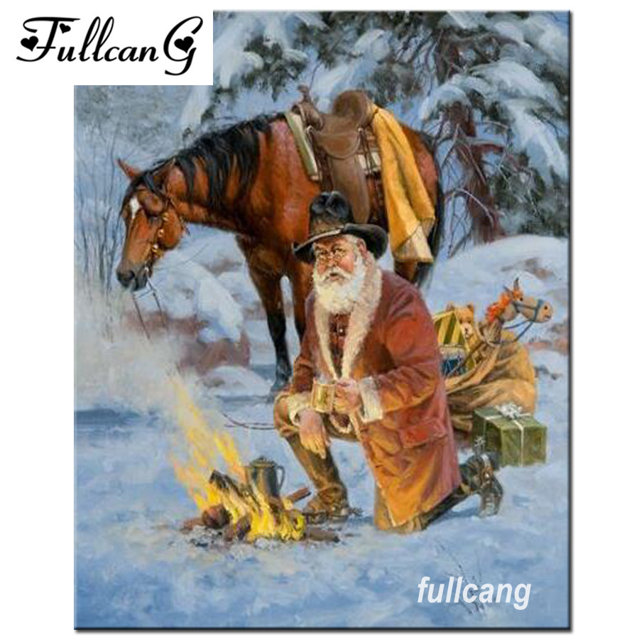 FULLCANG Mosaic 5D Needlework Full Square Diamond Embroidery Old Man And Horse Diamond Painting Cross Stitch Crafts Kits F800
