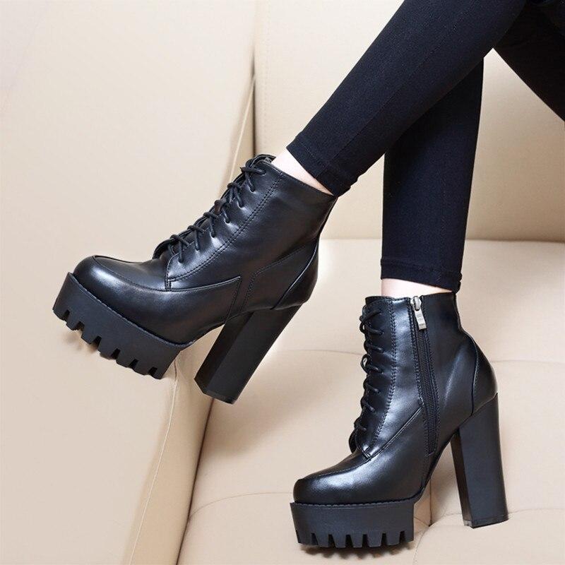 European style women lace up thick ankle boots children winter 2018 new high heeled short tube plus velvet Korean Martin boots