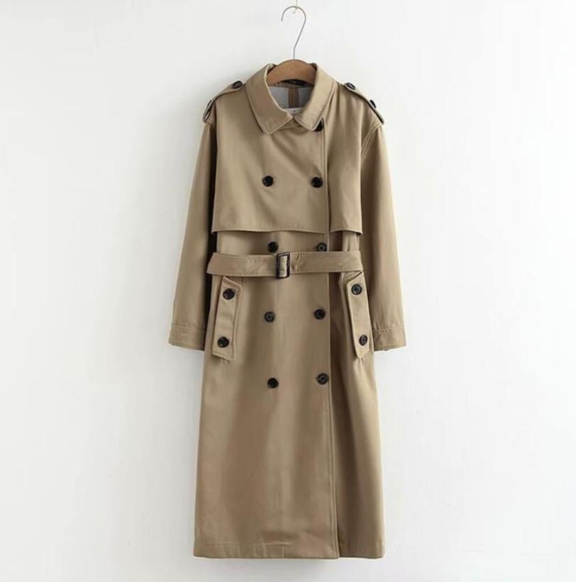 2019 Spring Women Khaki   Trench   Double Breasted Long   Trench   Women Elegant Coat