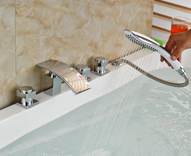 Elegant Chorme Bathroom Faucet Deck Mounted Shape Faucet Three Handles Mixer Tap elegant chorme bathroom faucet deck mounted shape faucet three handles mixer tap