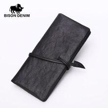 Bison denim echtem leder vintage schwarze brieftasche tasche, lange brieftasche mode dollar preis lange mans geldbörsen n4369