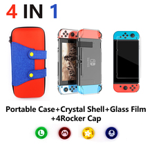 4 in 1 for Nintend Switch NS Console Carrying Storage Bag Protector +Anti-scratch Dustproof Transparent Crystal Shell+ NS Skin недорого