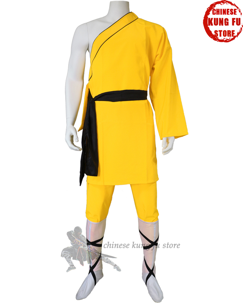 Yellow Polyester Shaolin Uniform One Sleeve Style Popular For Performance Competition Full Sizes For Kids Adults