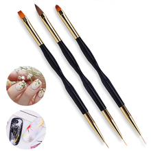 Pandahall Dual-End Nail Art Brush Gold Black Handle UV Gel Brushes for DIY Nails 3d Carving Liner Painting Pen Manicure Tools dual end line drawing nail art brush gold black handle uv gel brushes for diy nails 3d carving liner painting pen manicure tools