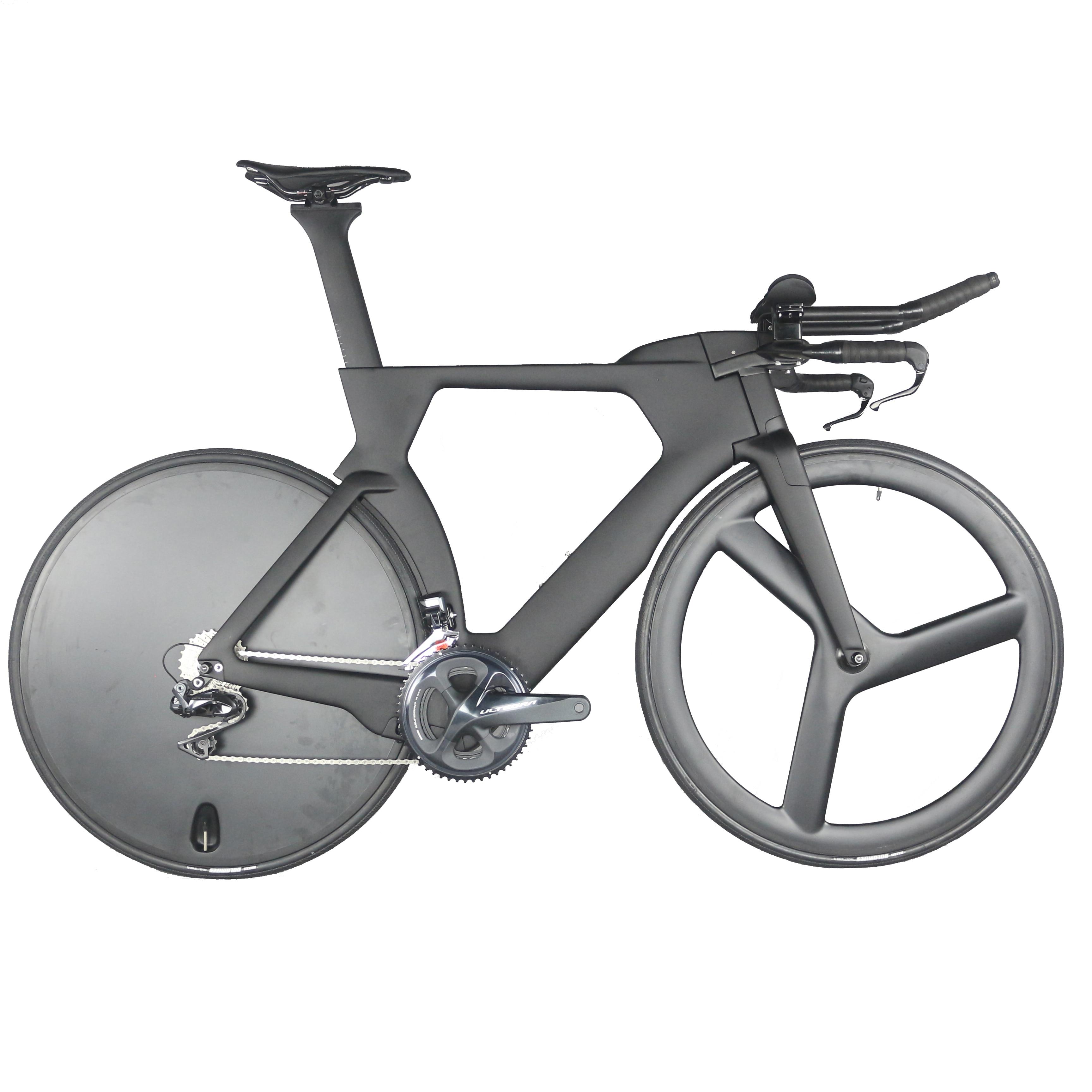 Vélo complet TT bike TT01 contre la montre Triathlon fibre de carbone peinture noire intégré TT guidon avec groupe R8060 Di2