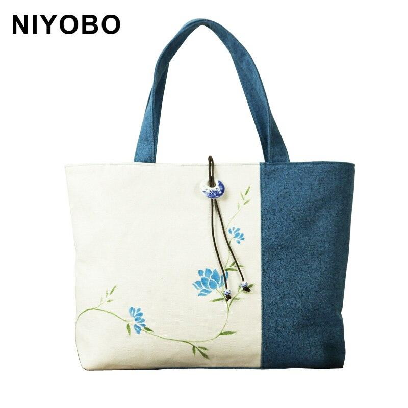 <font><b>China</b></font> National Style Women Bags Hand Painted Flower Shoulder Bag Fashion Cotton Linen Women Handbags PT935