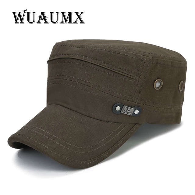 27a6d229fbb Online Shop  Wuaumx  Branded Vintage Military Hats For Men Women Baseball  Caps Sun Visor Army Flat Top Hats Military Soldier Hat Unisex
