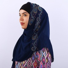 Exquisite Woman hijab Multicolor Rhinestone Chiffon Popular Shawls Scarf Headband Muslim Hijab Turban 14 Colors Free Shipping